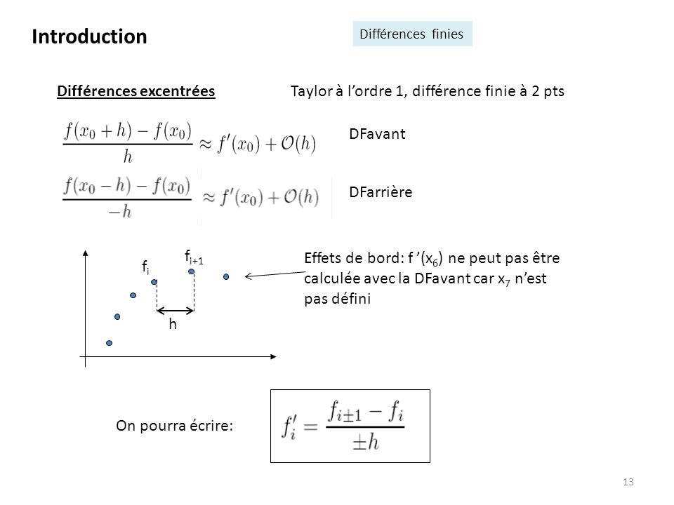 fifi 13 Différences excentrées Taylor à lordre 1, différence finie à 2 pts On pourra écrire: Effets de bord: f (x 6 ) ne peut pas être calculée avec l