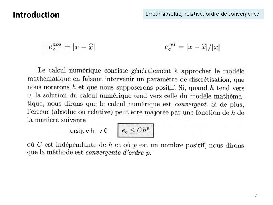 7 Introduction Erreur absolue, relative, ordre de convergence lorsque h 0