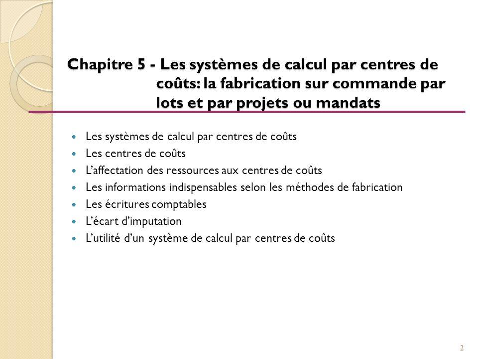 Chapitre 5 - Les systèmes de calcul par centres de coûts: la fabrication sur commande par lots et par projets ou mandats Les systèmes de calcul par ce