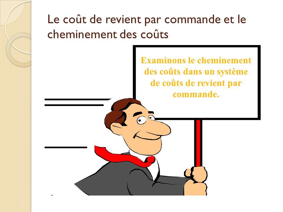 Le coût de revient par commande et le cheminement des coûts Examinons le cheminement des coûts dans un système de coûts de revient par commande.