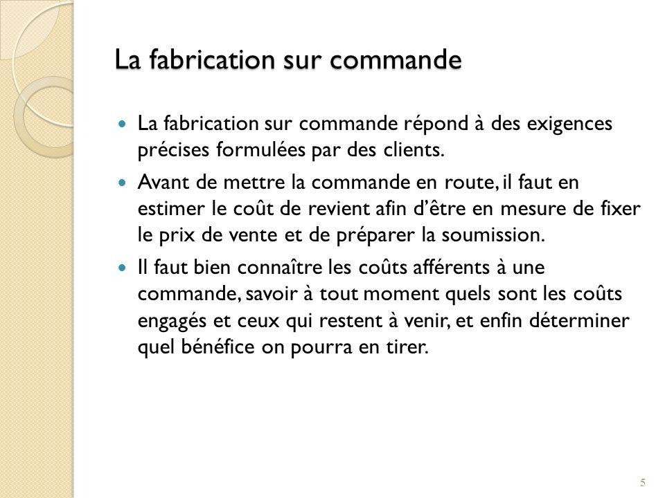 Le coût de revient par commande et le cheminement des documents Compte des Frais généraux de fabrication Autres éléments de FGF Fiche de coût de revient Frais ind.