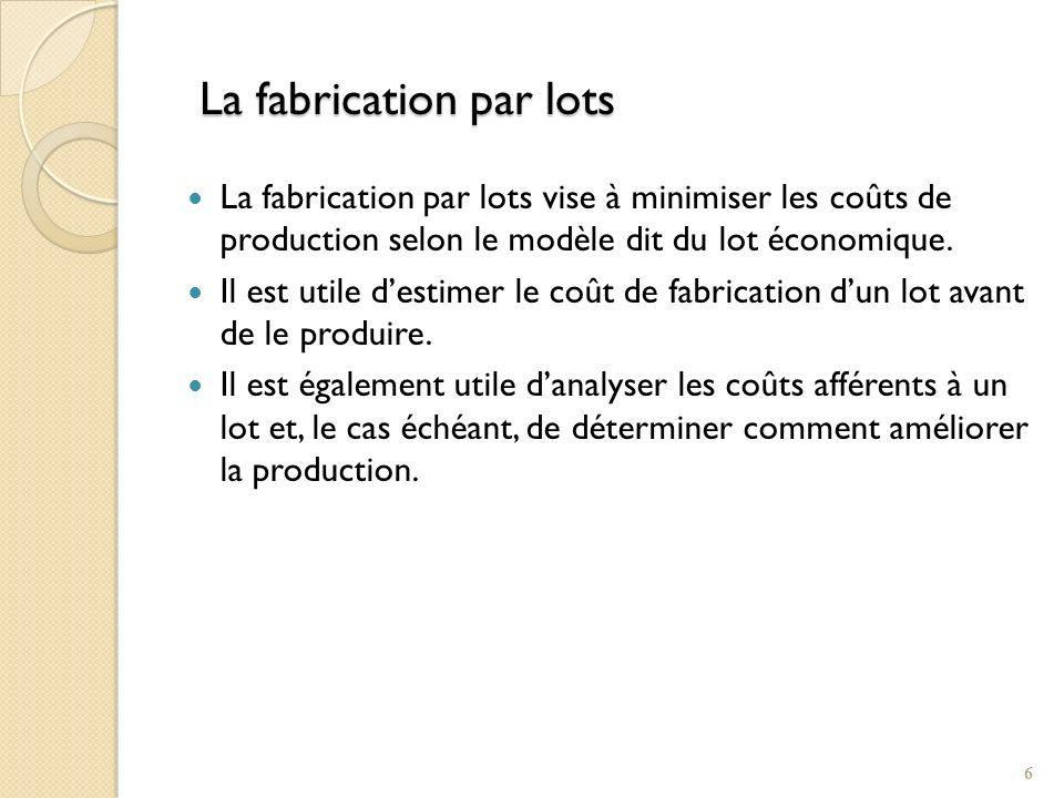 La fabrication par lots La fabrication par lots vise à minimiser les coûts de production selon le modèle dit du lot économique. Il est utile destimer