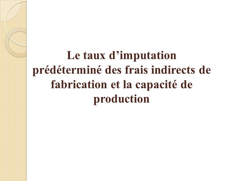 Le taux dimputation prédéterminé des frais indirects de fabrication et la capacité de production