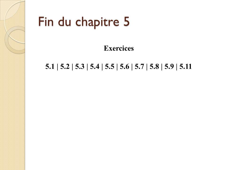 Fin du chapitre 5 Exercices 5.1 | 5.2 | 5.3 | 5.4 | 5.5 | 5.6 | 5.7 | 5.8 | 5.9 | 5.11