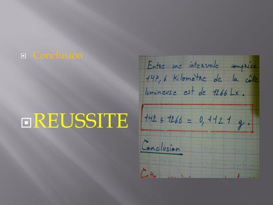 Conclusion REUSSITE