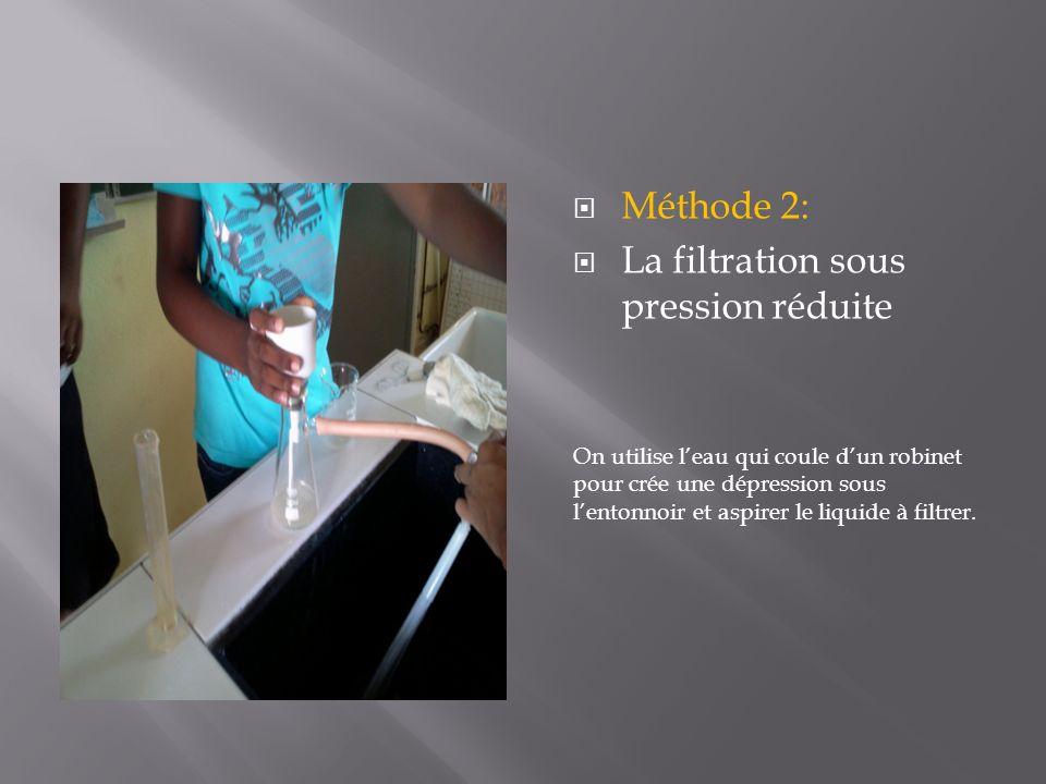 Méthode 2: La filtration sous pression réduite On utilise leau qui coule dun robinet pour crée une dépression sous lentonnoir et aspirer le liquide à