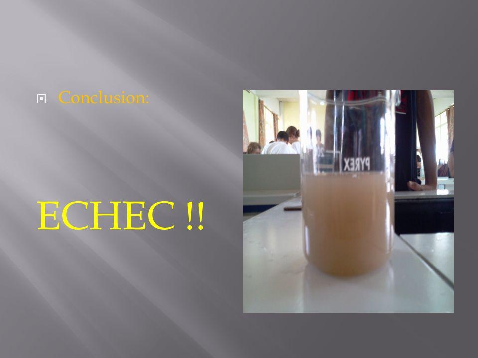 Conclusion: ECHEC !!