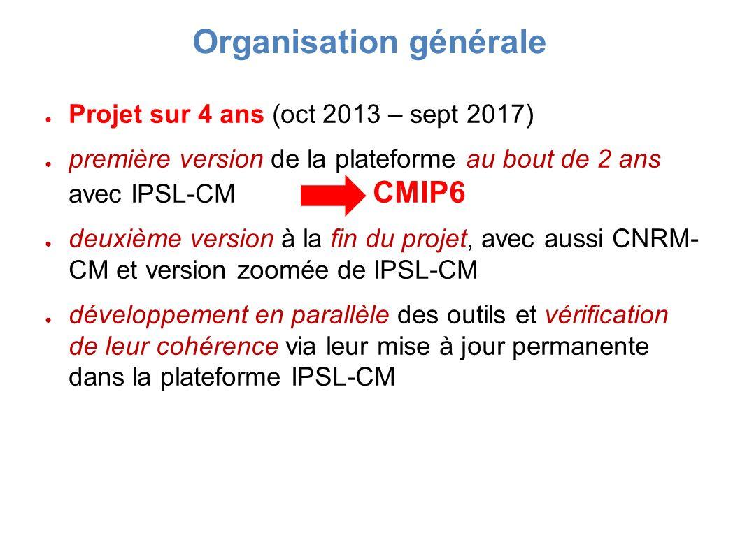 Projet sur 4 ans (oct 2013 – sept 2017) première version de la plateforme au bout de 2 ans avec IPSL-CM CMIP6 deuxième version à la fin du projet, avec aussi CNRM- CM et version zoomée de IPSL-CM développement en parallèle des outils et vérification de leur cohérence via leur mise à jour permanente dans la plateforme IPSL-CM Organisation générale