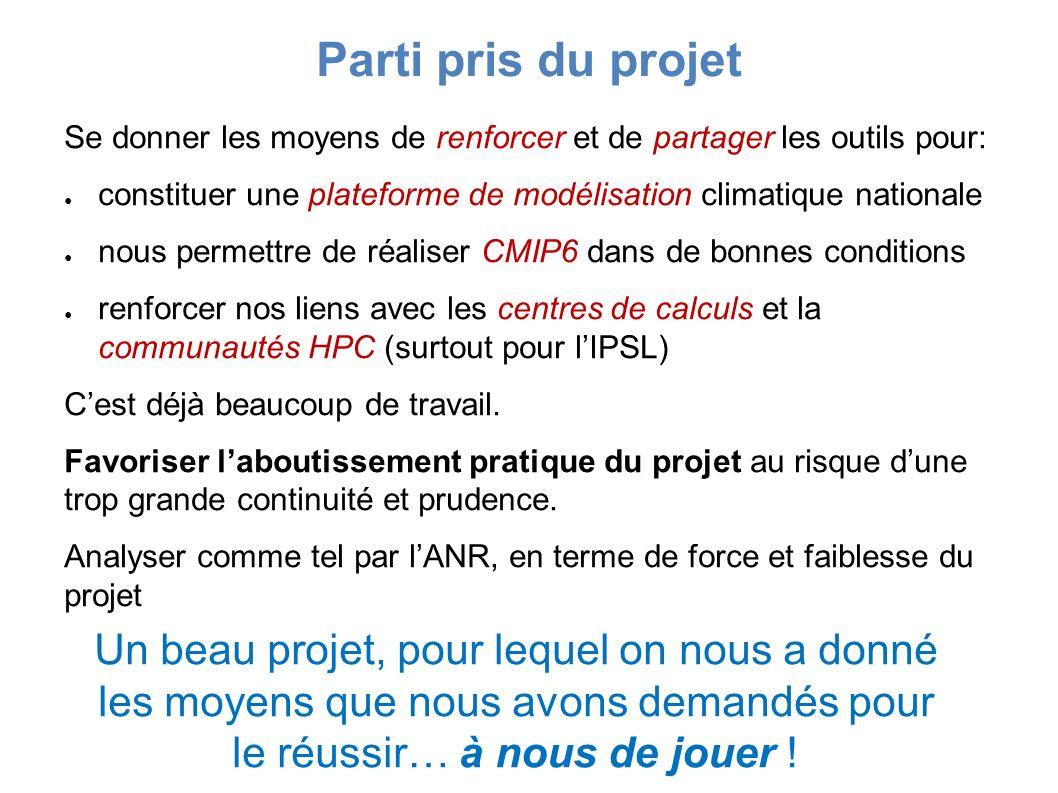 Se donner les moyens de renforcer et de partager les outils pour: constituer une plateforme de modélisation climatique nationale nous permettre de réaliser CMIP6 dans de bonnes conditions renforcer nos liens avec les centres de calculs et la communautés HPC (surtout pour lIPSL) Cest déjà beaucoup de travail.