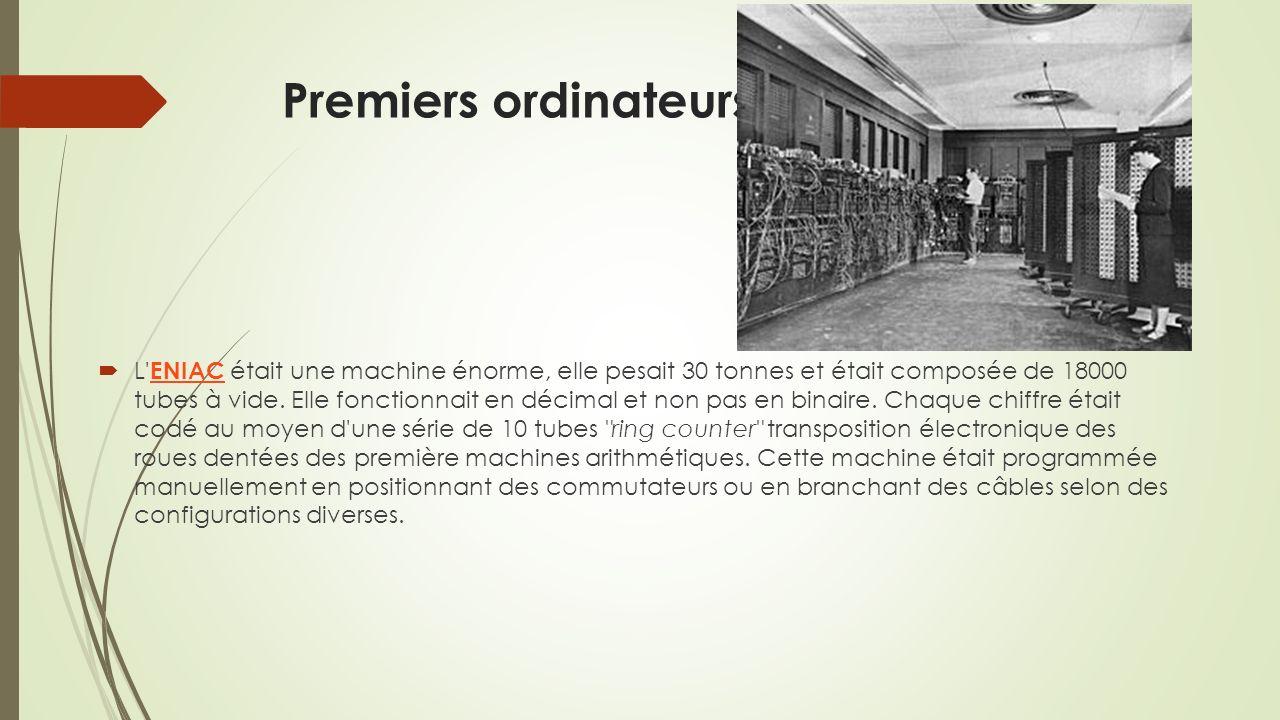 Premiers ordinateurs L ENIAC était une machine énorme, elle pesait 30 tonnes et était composée de 18000 tubes à vide.