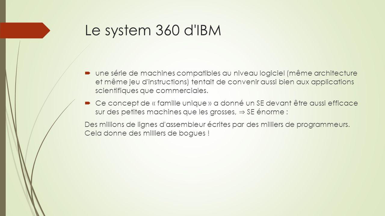 Le system 360 d IBM une série de machines compatibles au niveau logiciel (même architecture et même jeu d instructions) tentait de convenir aussi bien aux applications scientifiques que commerciales.