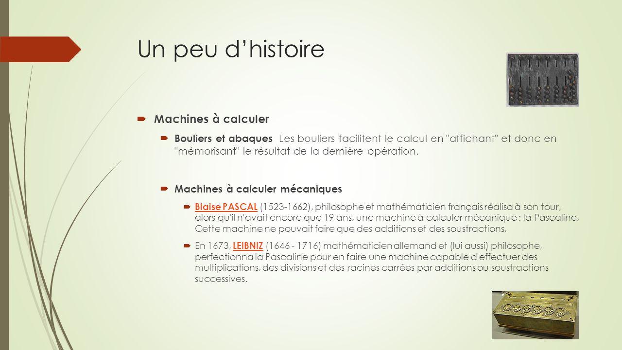 Un peu dhistoire Machines à calculer Bouliers et abaques Les bouliers facilitent le calcul en affichant et donc en mémorisant le résultat de la dernière opération.