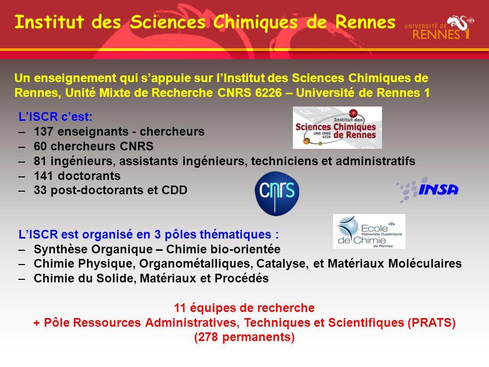 Institut des Sciences Chimiques de Rennes Un enseignement qui sappuie sur lInstitut des Sciences Chimiques de Rennes, Unité Mixte de Recherche CNRS 62