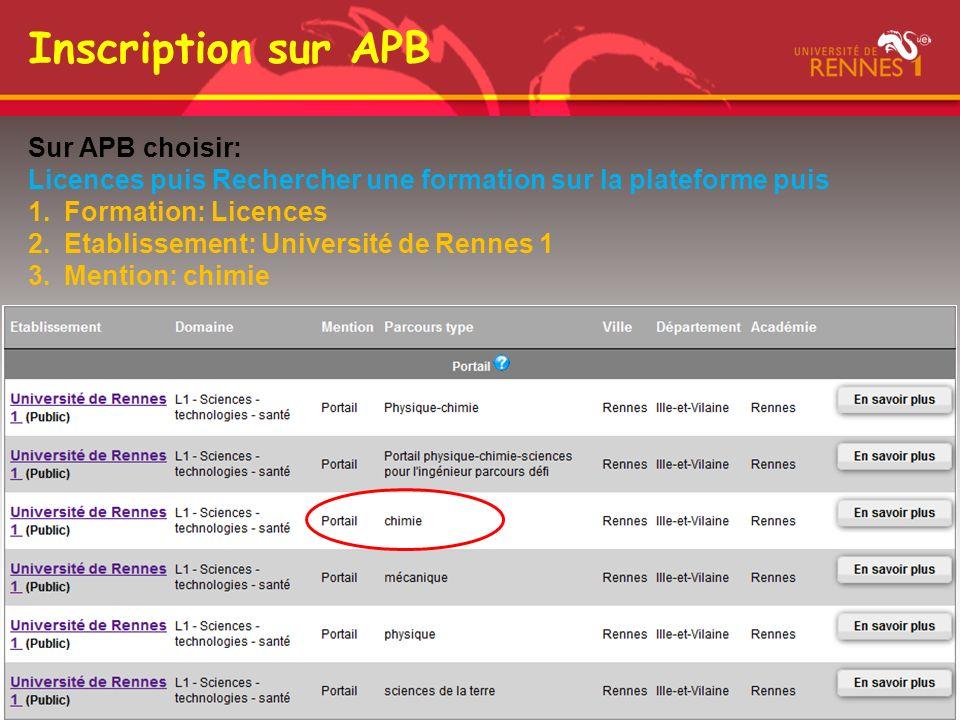 Inscription sur APB Sur APB choisir: Licences puis Rechercher une formation sur la plateforme puis 1.Formation: Licences 2.Etablissement: Université d