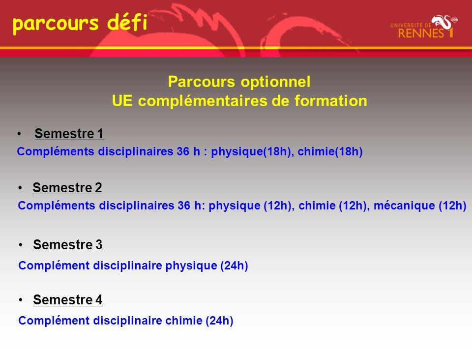 parcours défi Semestre 1 Compléments disciplinaires 36 h : physique(18h), chimie(18h) Semestre 2 Compléments disciplinaires 36 h: physique (12h), chim