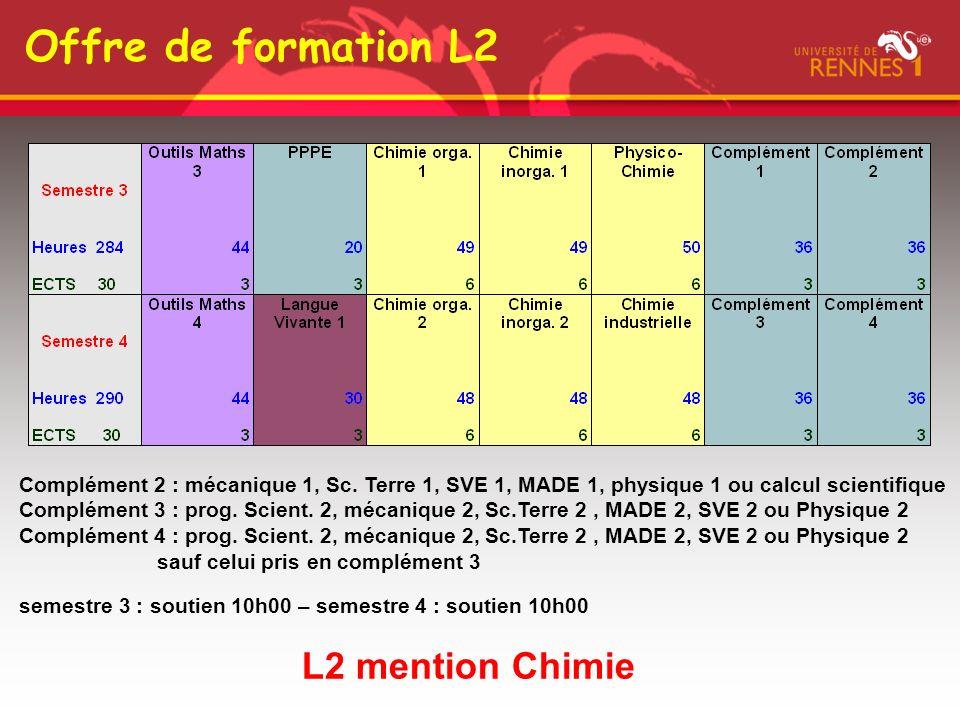 Offre de formation L2 L2 mention Chimie Complément 2 : mécanique 1, Sc. Terre 1, SVE 1, MADE 1, physique 1 ou calcul scientifique Complément 3 : prog.