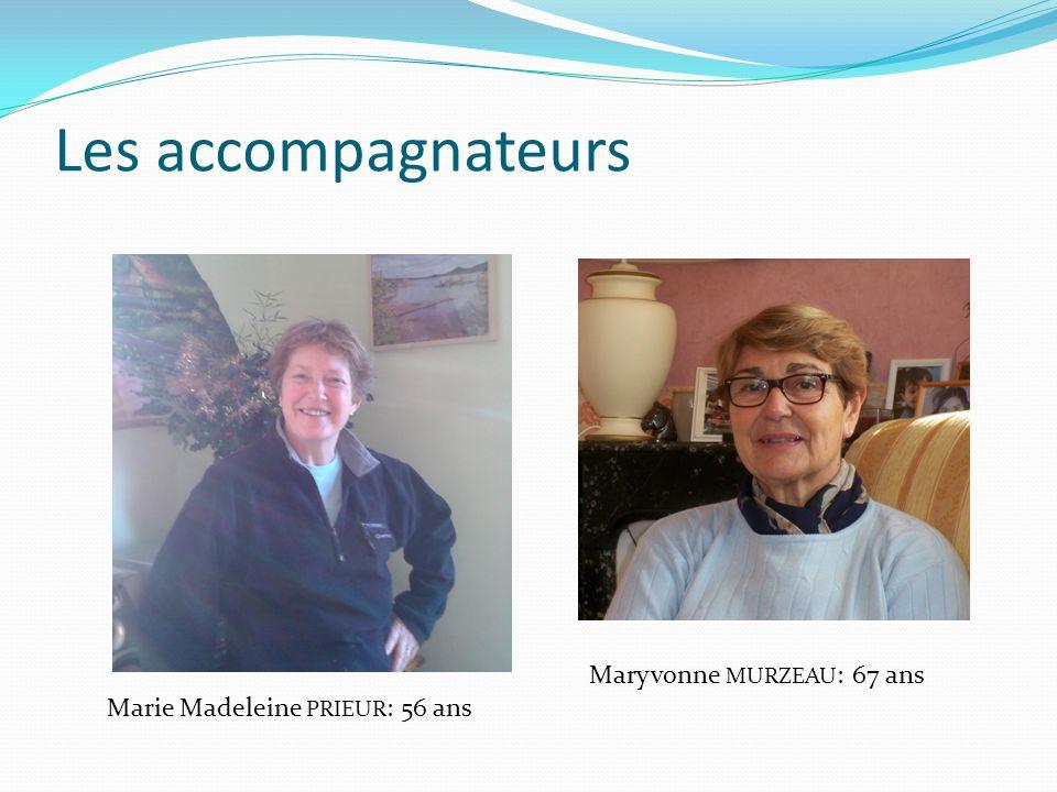 Les accompagnateurs Marie Madeleine PRIEUR : 56 ans Maryvonne MURZEAU : 67 ans