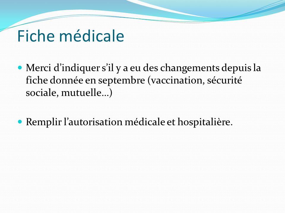 Fiche médicale Merci dindiquer sil y a eu des changements depuis la fiche donnée en septembre (vaccination, sécurité sociale, mutuelle…) Remplir lautorisation médicale et hospitalière.