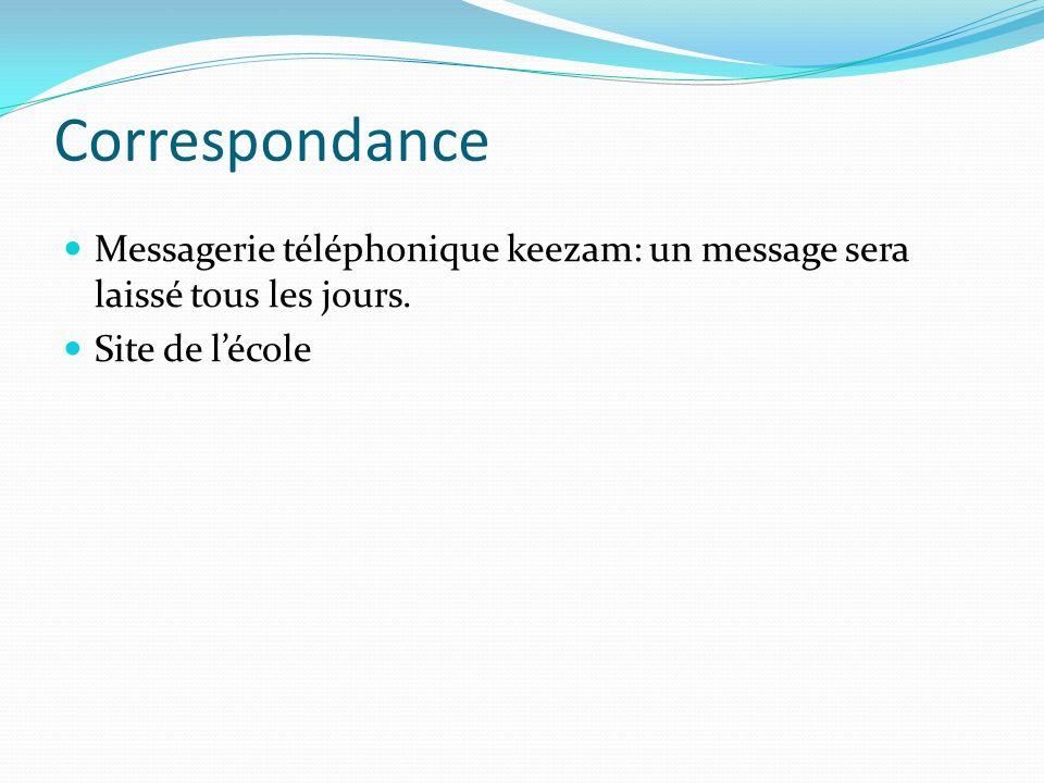 Correspondance Messagerie téléphonique keezam: un message sera laissé tous les jours. Site de lécole