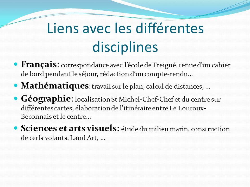 Liens avec les différentes disciplines Français: correspondance avec lécole de Freigné, tenue dun cahier de bord pendant le séjour, rédaction dun comp