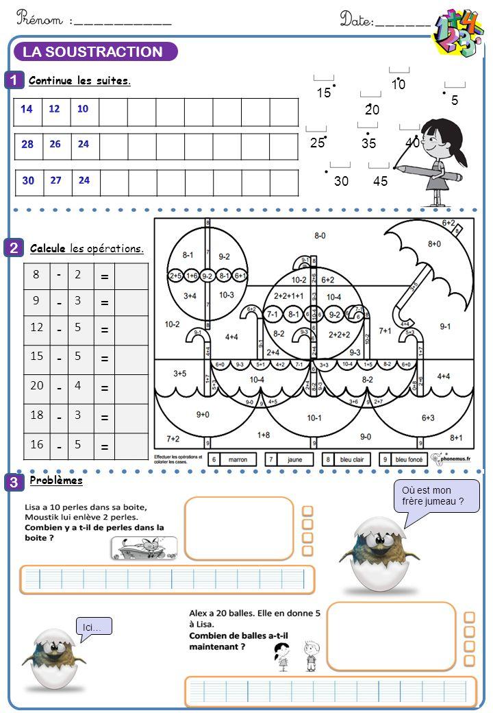 LA SOUSTRACTION Continue les suites. 1 2 3 Calcule Calcule les opérations.: Problèmes: 45 30 25 20 40 35 15 10 5 8-2 = 9 - 3 = 12 - 5 = 15 - 5 = 20 -
