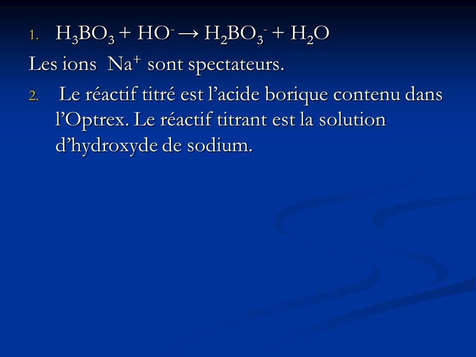 1. H 3 BO 3 + HO - H 2 BO 3 - + H 2 O Les ions Na + sont spectateurs. 2. Le réactif titré est lacide borique contenu dans lOptrex. Le réactif titrant