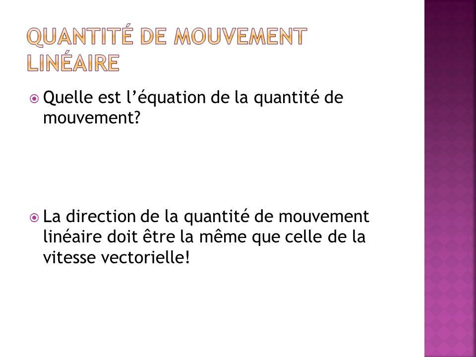 Quelle est léquation de la quantité de mouvement? La direction de la quantité de mouvement linéaire doit être la même que celle de la vitesse vectorie