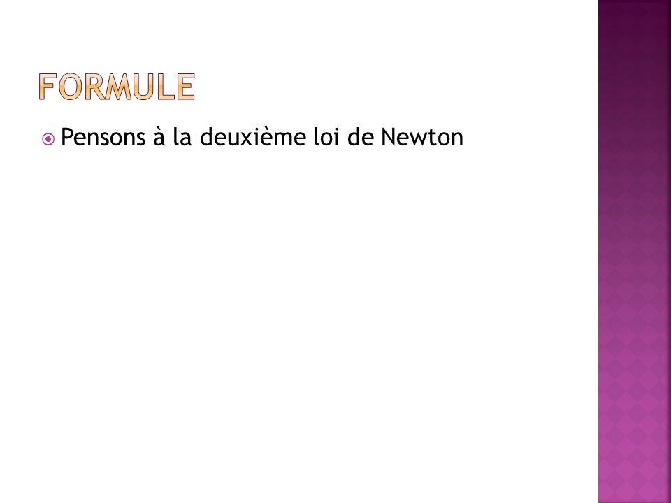Pensons à la deuxième loi de Newton