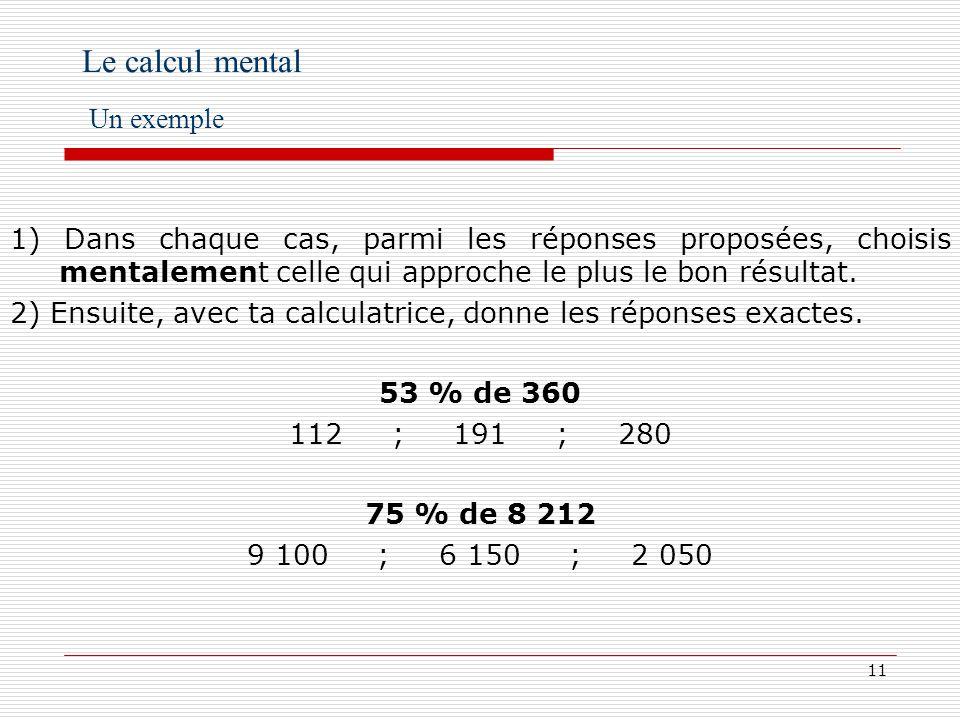 12 Le calcul mental Des exemples en cinquième