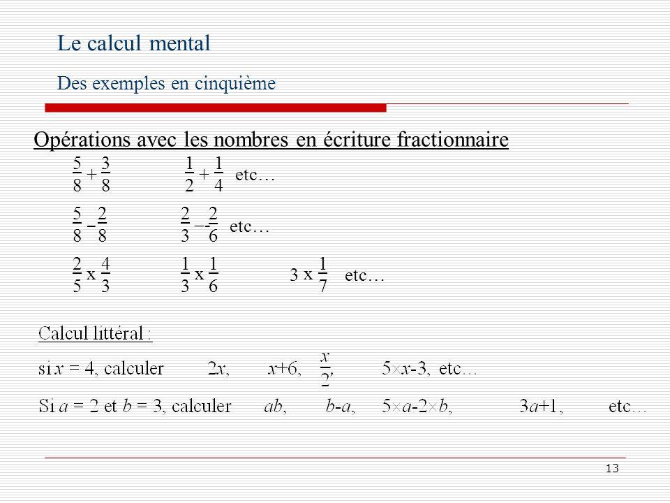 14 Le calcul mental Des exemples en cinquième