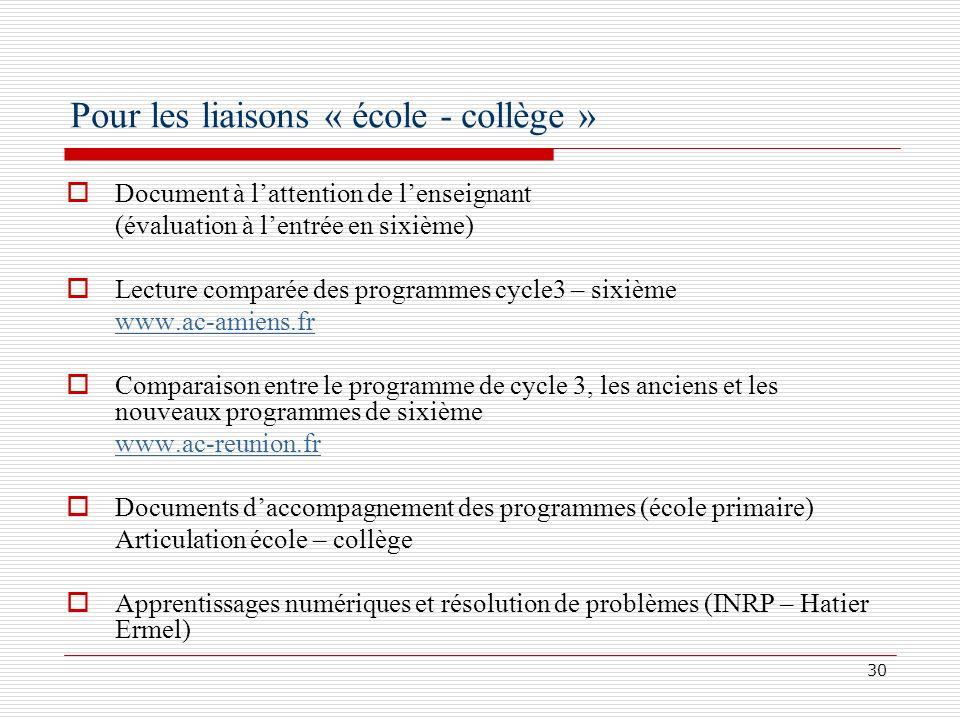30 Pour les liaisons « école - collège » Document à lattention de lenseignant (évaluation à lentrée en sixième) Lecture comparée des programmes cycle3