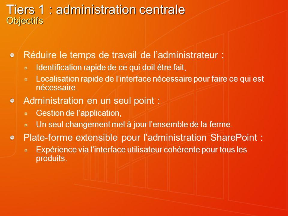 Tiers 1 : administration centrale Objectifs Réduire le temps de travail de ladministrateur : Identification rapide de ce qui doit être fait, Localisat
