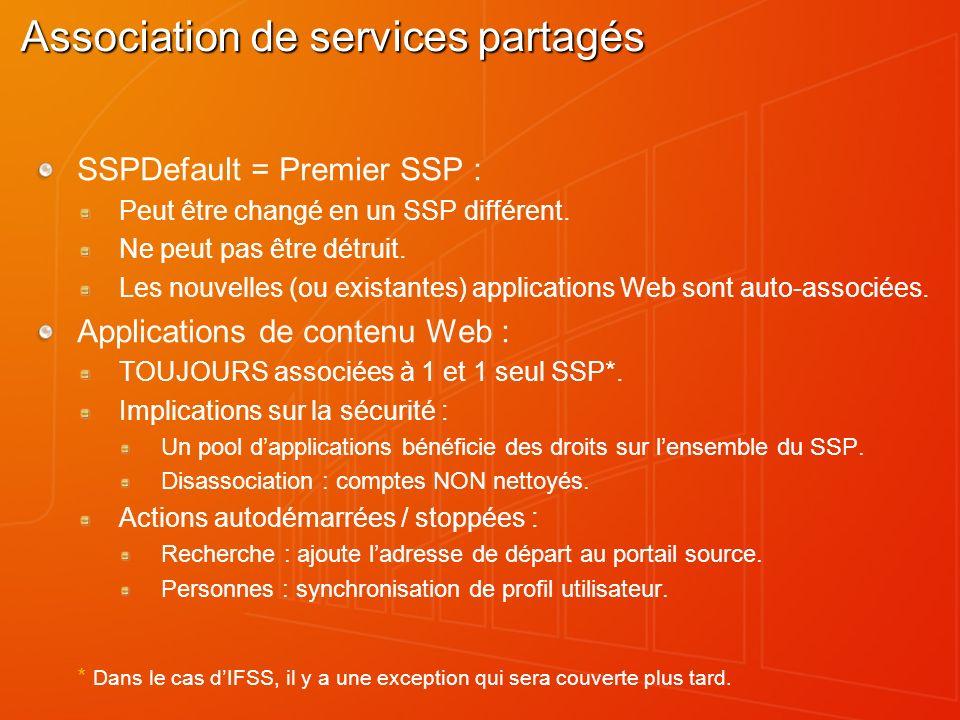 Association de services partagés SSPDefault = Premier SSP : Peut être changé en un SSP différent. Ne peut pas être détruit. Les nouvelles (ou existant