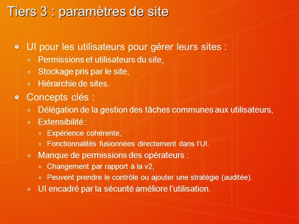 Tiers 3 : paramètres de site UI pour les utilisateurs pour gérer leurs sites : Permissions et utilisateurs du site, Stockage pris par le site, Hiérarc