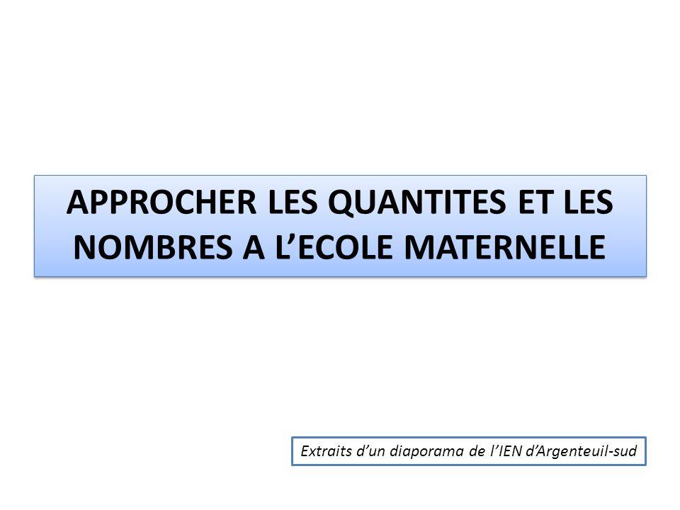 APPROCHER LES QUANTITES ET LES NOMBRES A LECOLE MATERNELLE Extraits dun diaporama de lIEN dArgenteuil-sud