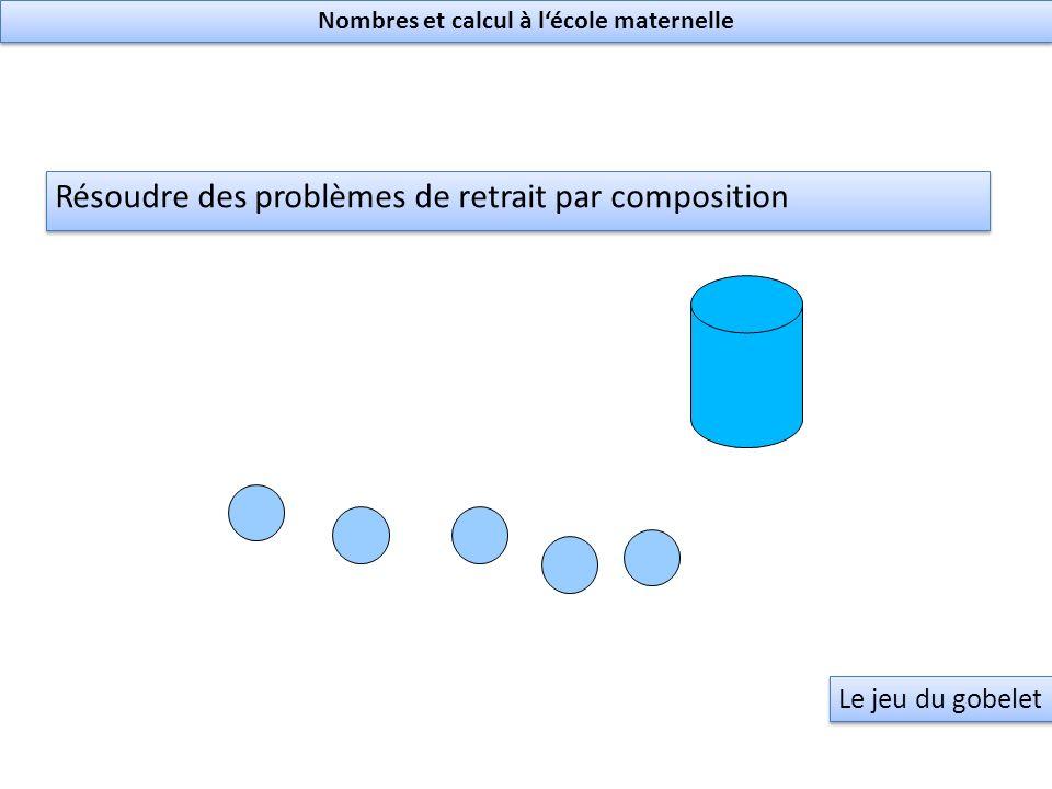 Résoudre des problèmes de retrait par composition Le jeu du gobelet Nombres et calcul à lécole maternelle
