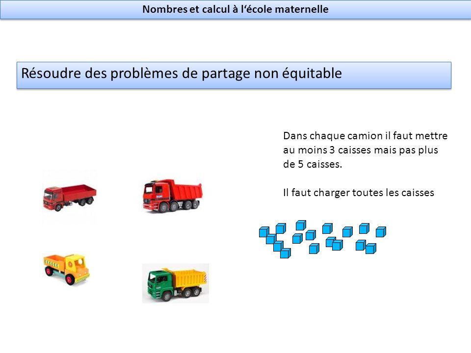 Résoudre des problèmes de partage non équitable Dans chaque camion il faut mettre au moins 3 caisses mais pas plus de 5 caisses.