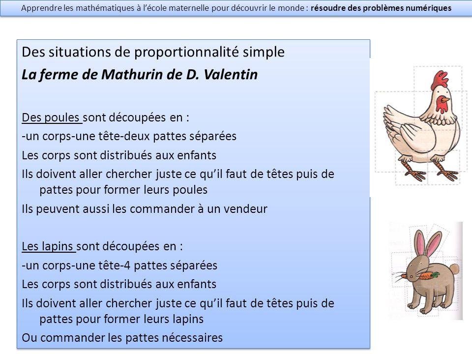 Des situations de proportionnalité simple La ferme de Mathurin de D.