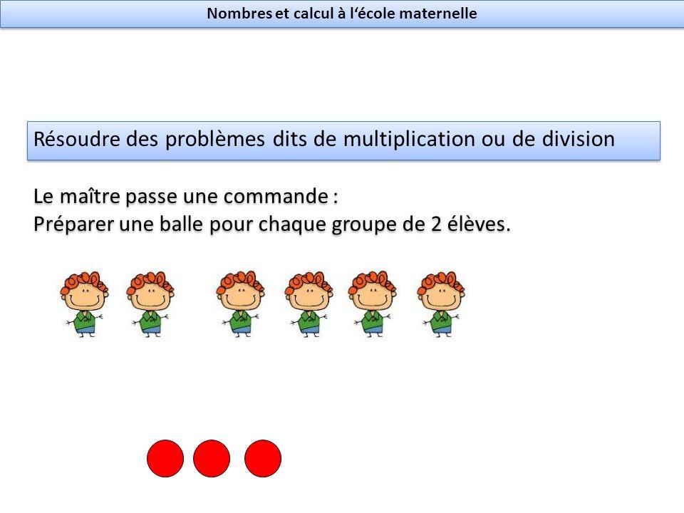 Résoudre des problèmes dits de multiplication ou de division Le maître passe une commande : Préparer une balle pour chaque groupe de 2 élèves.