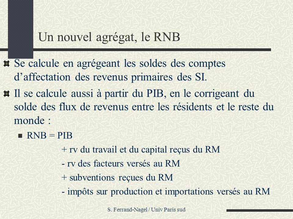 S. Ferrand-Nagel / Univ Paris sud Un nouvel agrégat, le RNB Se calcule en agrégeant les soldes des comptes daffectation des revenus primaires des SI.