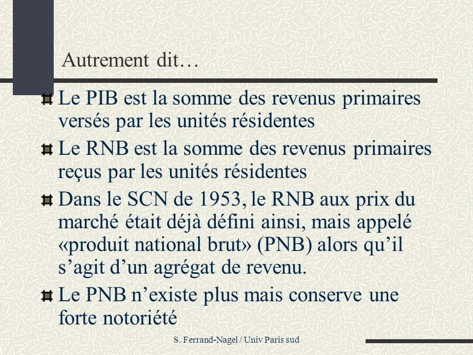 S. Ferrand-Nagel / Univ Paris sud Autrement dit… Le PIB est la somme des revenus primaires versés par les unités résidentes Le RNB est la somme des re