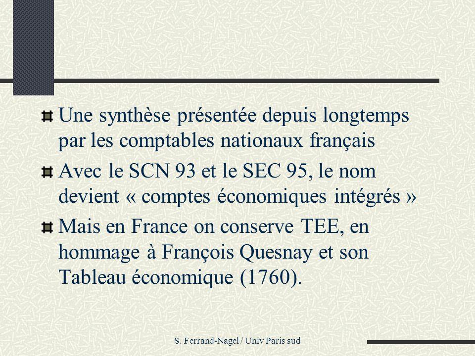 S. Ferrand-Nagel / Univ Paris sud Une synthèse présentée depuis longtemps par les comptables nationaux français Avec le SCN 93 et le SEC 95, le nom de