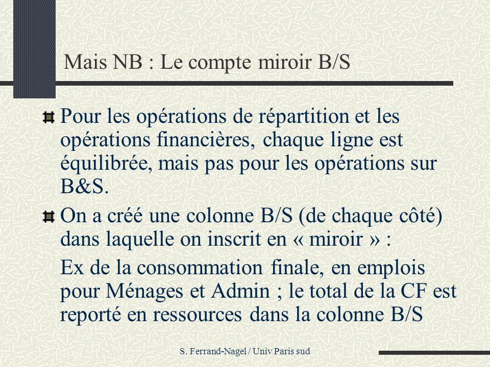 S. Ferrand-Nagel / Univ Paris sud Mais NB : Le compte miroir B/S Pour les opérations de répartition et les opérations financières, chaque ligne est éq