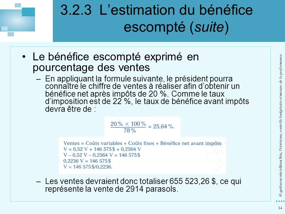 14 © gaëtan morin éditeur ltée, Prévisions, contrôle budgétaire et mesure de la performance. Le bénéfice escompté exprimé en pourcentage des ventes –E