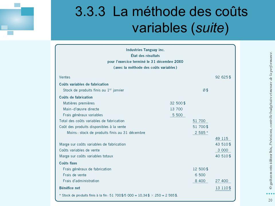 20 © gaëtan morin éditeur ltée, Prévisions, contrôle budgétaire et mesure de la performance. 3.3.3La méthode des coûts variables (suite)