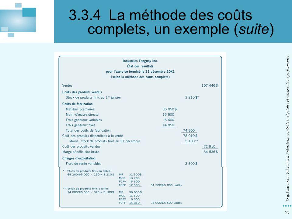 23 © gaëtan morin éditeur ltée, Prévisions, contrôle budgétaire et mesure de la performance. 3.3.4La méthode des coûts complets, un exemple (suite)