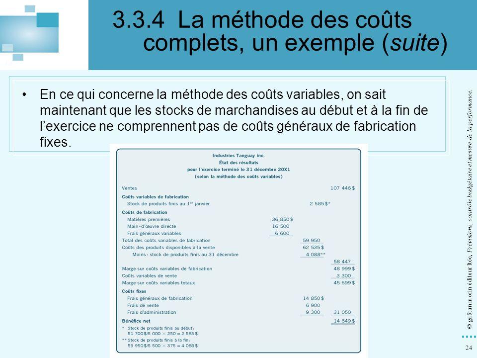 24 © gaëtan morin éditeur ltée, Prévisions, contrôle budgétaire et mesure de la performance. En ce qui concerne la méthode des coûts variables, on sai