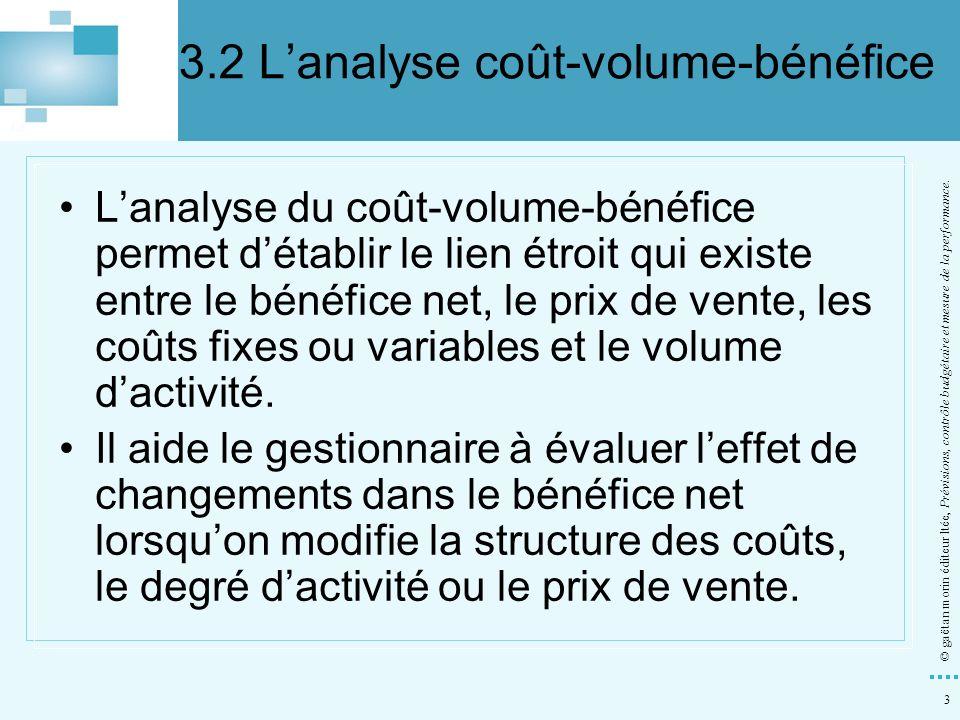 3 © gaëtan morin éditeur ltée, Prévisions, contrôle budgétaire et mesure de la performance. Lanalyse du coût-volume-bénéfice permet détablir le lien é