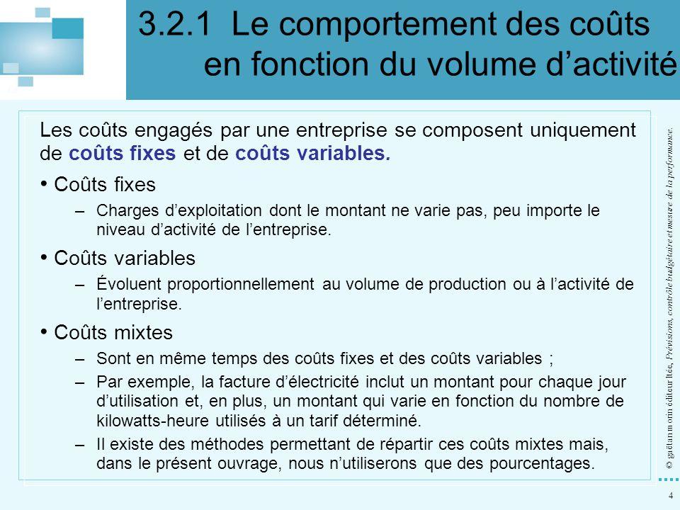 4 © gaëtan morin éditeur ltée, Prévisions, contrôle budgétaire et mesure de la performance. Les coûts engagés par une entreprise se composent uniqueme