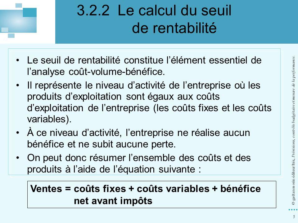 5 © gaëtan morin éditeur ltée, Prévisions, contrôle budgétaire et mesure de la performance. Le seuil de rentabilité constitue lélément essentiel de la
